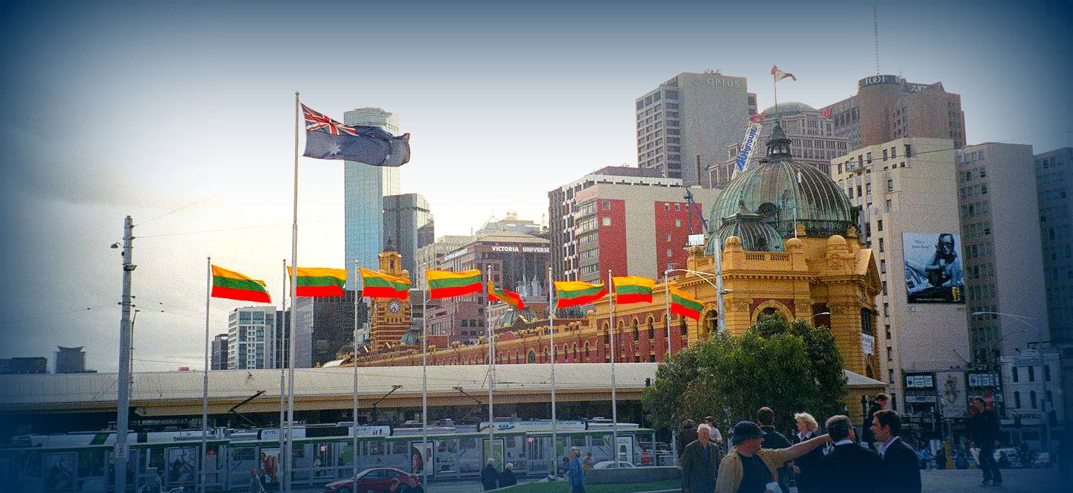 Lithuanian flags in Federation Square, Melbourne